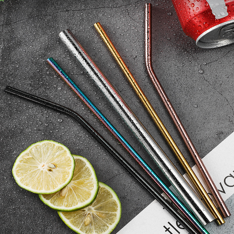 Stainless Steel Custom Sets Straight And Curved Colorful Metal Drinking Straw