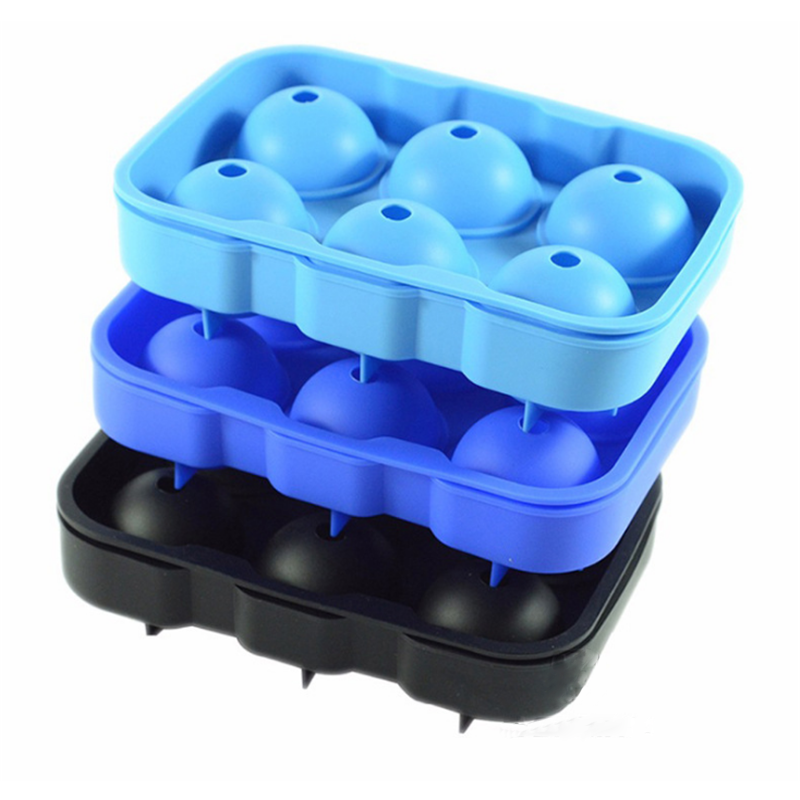 China Supplier 6 Cavity Sphere Silicone Ice Maker Mold, Ball Shape Silicone Ice Cube Tray