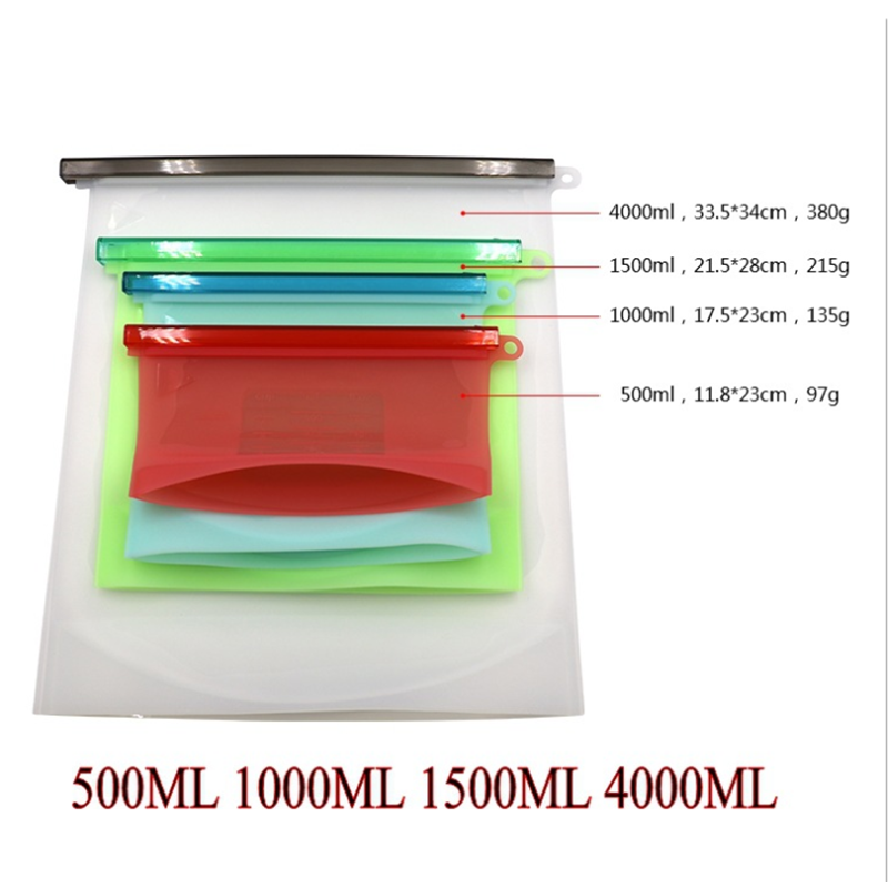 Fruits Vegetable Meats Prervation Container Stand Up Open Zip Shut Leakproof Airtight Reusable Silicone Food Storage Bags Fruits Vegetable Meats Preservation Container Reusable Silicone Food Storage B
