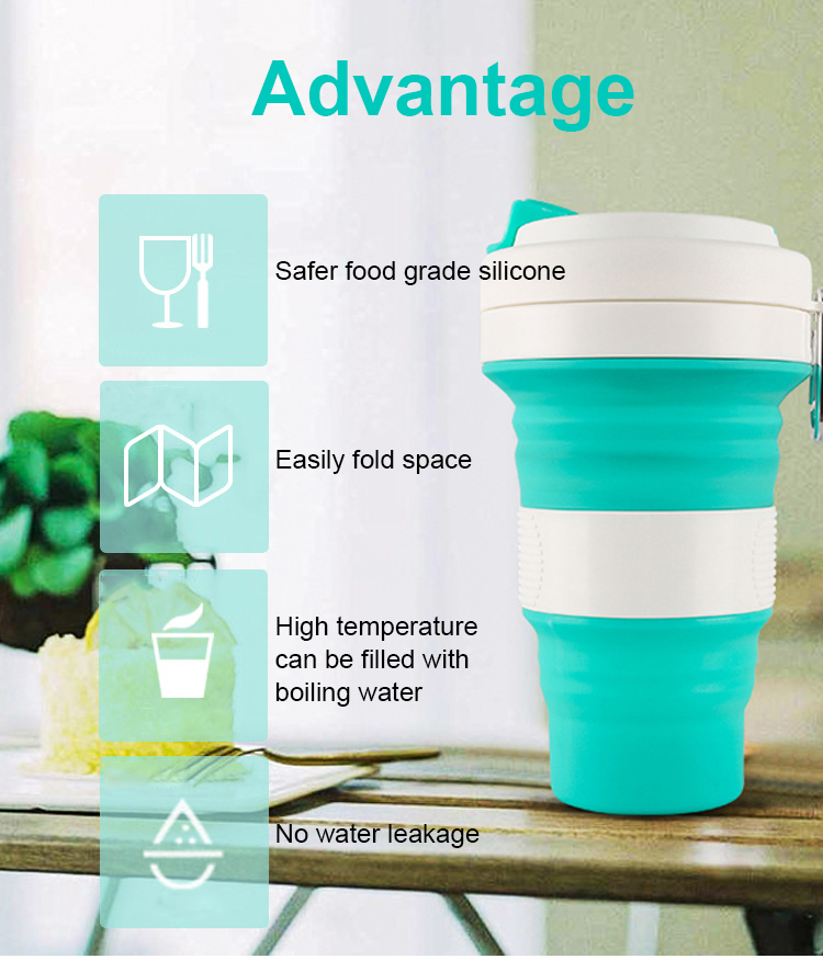 New Travel Outdoor Collapsible Coffee Drinking Cup Reusable Telescopic Silicone Folding Cup Water Bottle